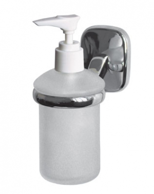 Дозатор жидкого мыла для ванной комнаты настенный из матового стекла с хромированным держателем  Modern