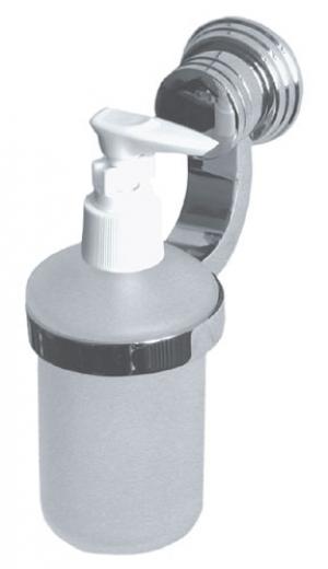 Дозатор жидкого мыла для ванной комнаты настенный из матового стекла с хромированным держателем Sphera