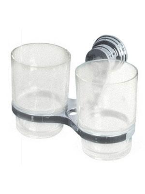 Подстаканник (держатель стакана) хромированный (аксессуар для ванной комнаты) спаренный в комплекте со стаканами Sphera