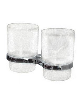 Подстаканник (держатель стакана) хромированный (аксессуар для ванной комнаты) спаренный в комплекте со стаканами  Frog