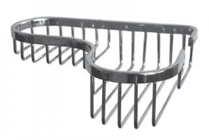Мыльница (полка) металлическая (латунная) хромированная решетчатая для ванной комнаты (Г-образная)
