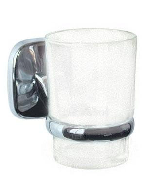 Подстаканник (держатель стакана) хромированный (аксессуар для ванной комнаты) одинарный в комплекте со стаканом  Modern