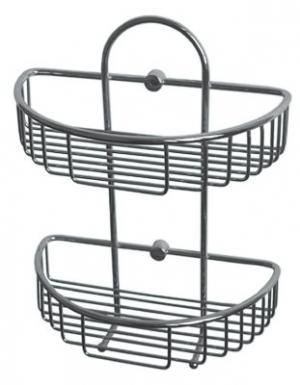 Полка, корзинка решетчатая металлическая хромированная в ванную комнату, кухню двойная полуовальная
