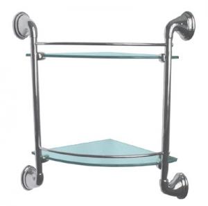 Полка стеклянная для ванной комнаты угловая двухъярусная