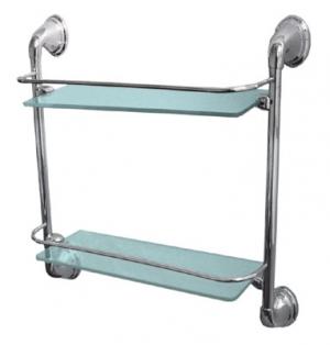 Полка стеклянная для ванной комнаты двухъярусная