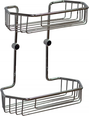 Полка, корзинка металлическая для ванной комнаты настенная хромированная двойная шестиугольная