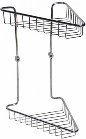 Полка, корзинка металлическая для ванной комнаты настенная хромированная угловая треугольная