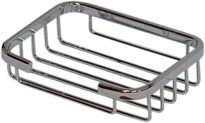Мыльница - полка  решетчатая металлическая хромированная в ванную комнату (аксессуар для ванной Н209)прямоугольная