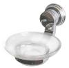 Мыльница для ванной комнаты стеклянная с хромированным держателем (аксессуар для ванных серии Sphera)
