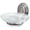 Мыльница для ванной комнаты стеклянная с хромированным держателем (аксессуар для ванных серии Laguna)