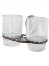 Подстаканник (держатель стакана) хромированный (аксессуар для ванной комнаты) спаренный в комплекте со стаканами  Laguna