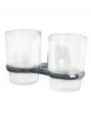 Подстаканник (держатель стакана) хромированный (аксессуар для ванной комнаты) спаренный в комплекте со стаканами Modern