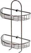 Полка (корзинка) для ванной комнаты решетчатая металлическая хромированная полуовальная двухъярусная на стену